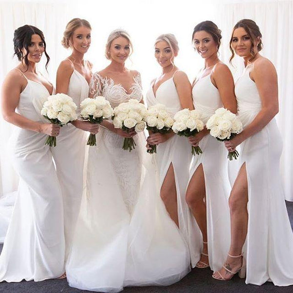 white bridesmaid dress trend