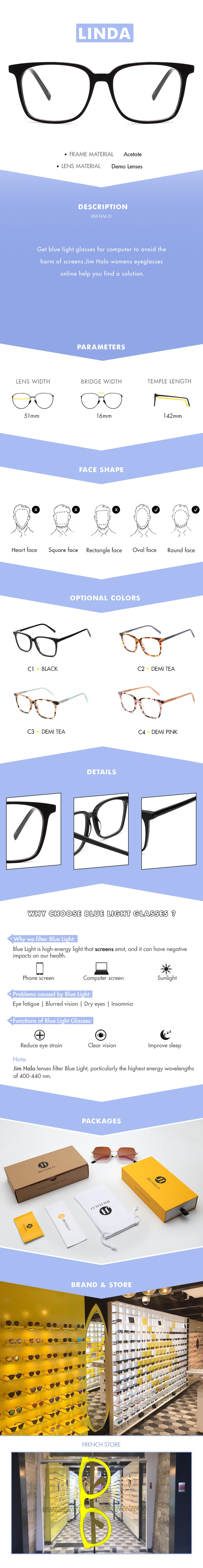 Get blue light glasses for computer to avoid the harm of screens.Jim Halo womens eyeglasses online help you find a solution.