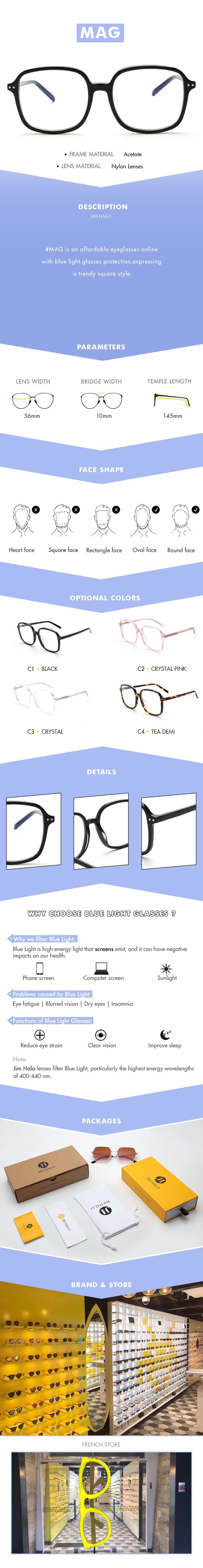 #MAG is an affordable eyeglasses online with blue light glasses protection,expressing  a trendy square style.