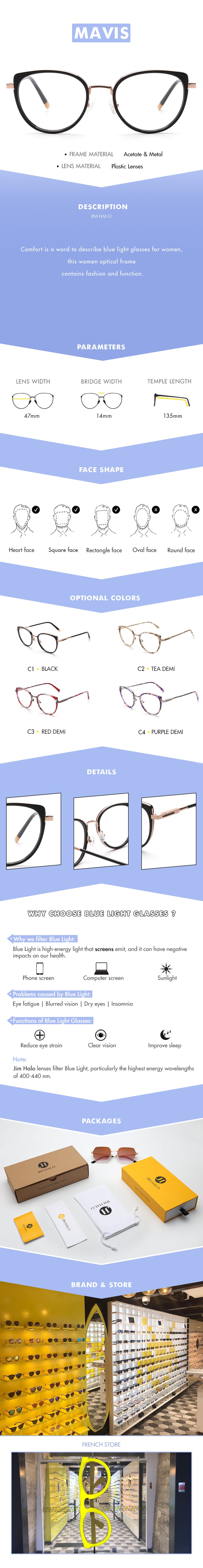 Comfort is a word to describe blue light glasses for women, this women optical frame contains fashion and function.