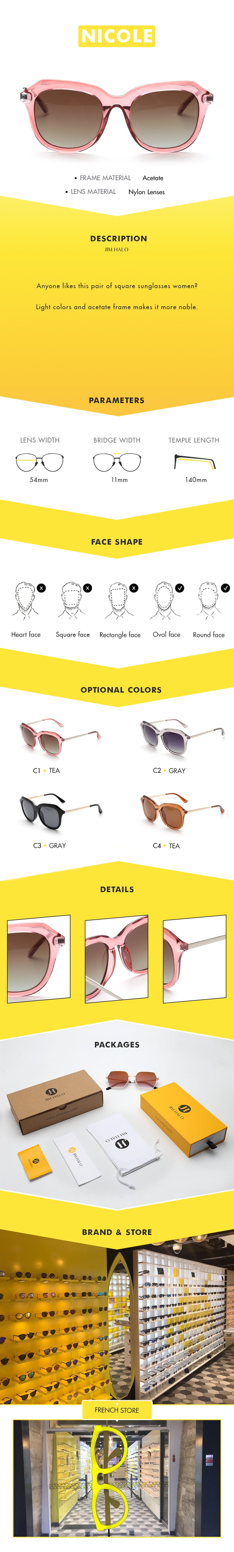 Anyone likes this pair of square sunglasses women? Light colors and acetate frame makes it more noble.