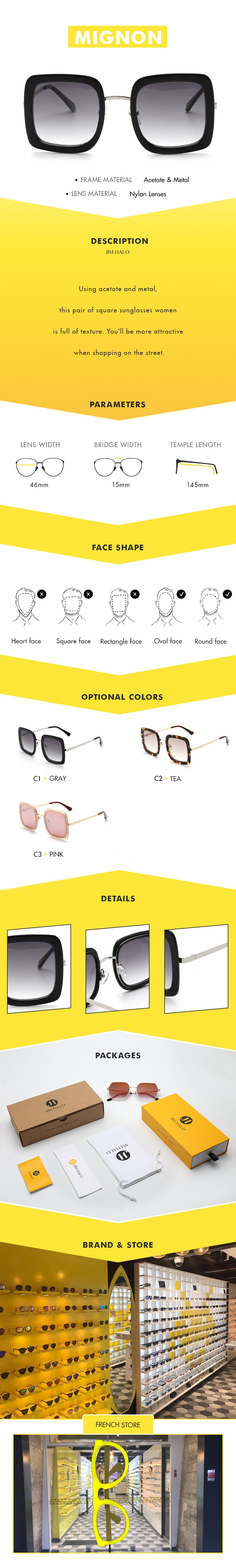Using acetate and metal, this pair of square sunglasses women is full of texture. You'll be more attractive when shopping on the street.