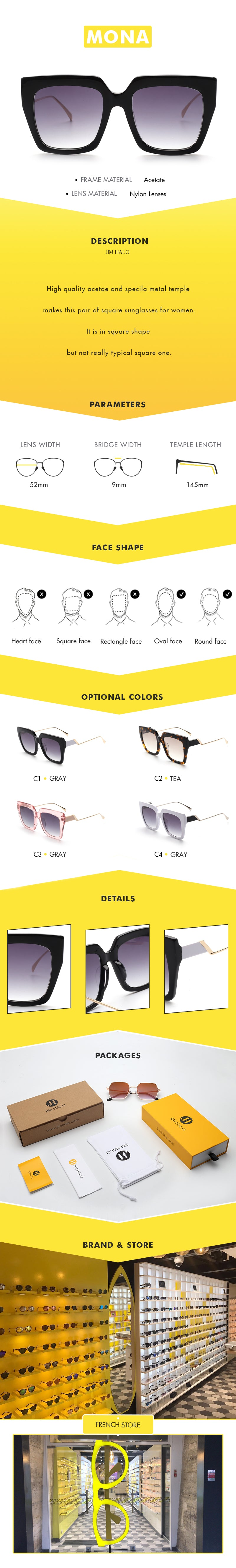 High quality acetae and specila metal temple makes this pair of square sunglasses for women.It is in square shape but not really typical square one.