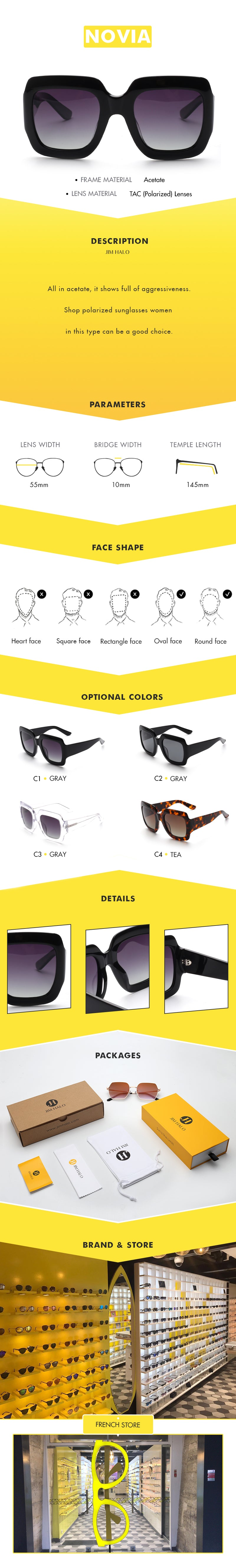 All in acetate, it shows full of aggressiveness.Shop polarized sunglasses women in this type can be a good choice.
