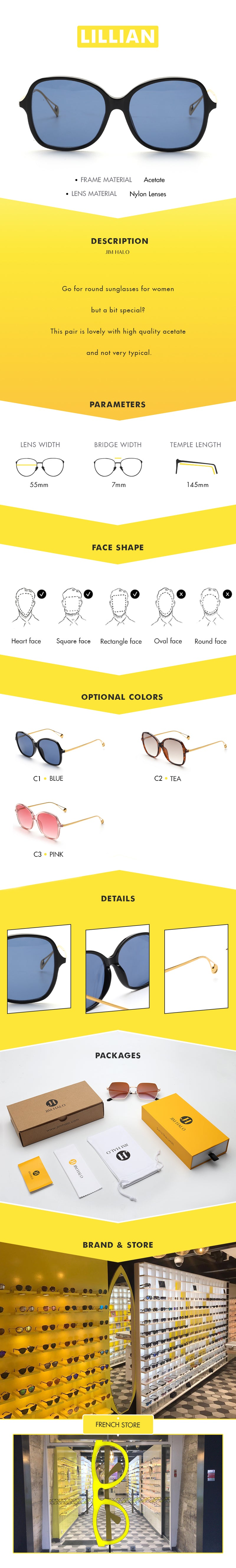 Go for round sunglasses for women but a bit special? This pair is lovely with high quality acetate and not very typical.