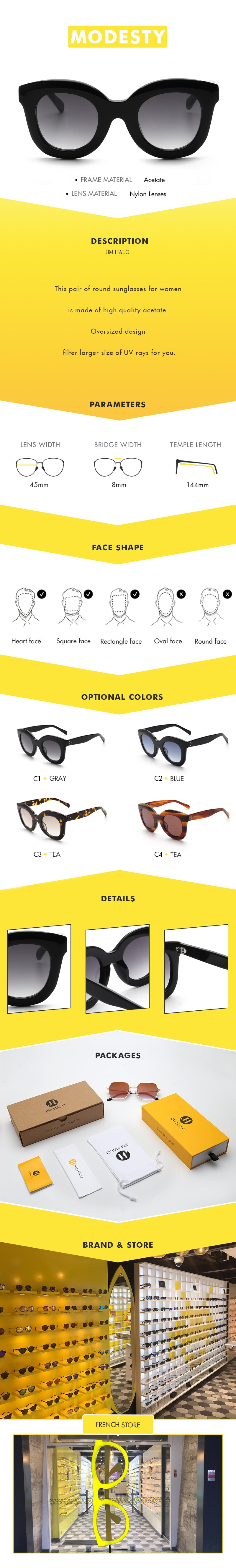 This pair of round sunglasses for women is made of high quality acetate. Oversized design filter larger size of UV rays for you.
