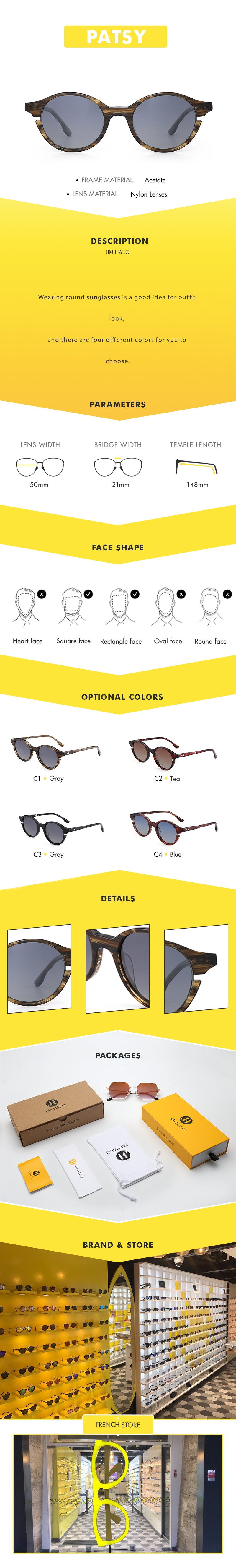 Wearing round sunglasses is a good idea for outfit look,  and there are four different colors for you to choose.