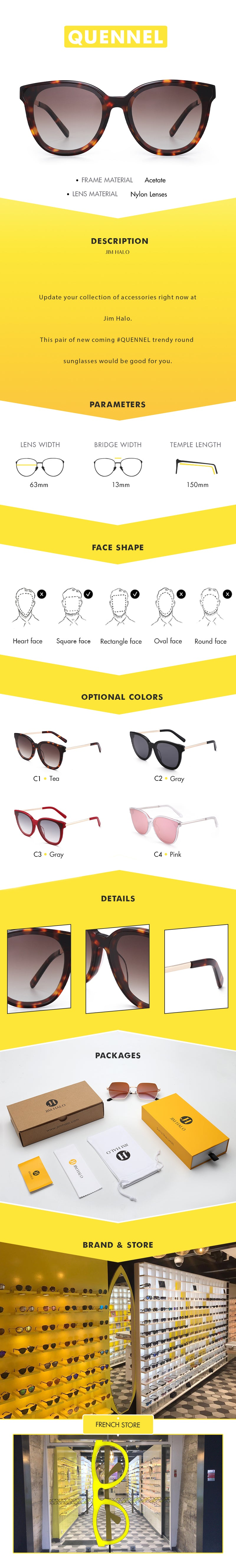Update your collection of accessories right now at Jim Halo.  This pair of new coming #QUENNEL trendy round sunglasses would be good for you.