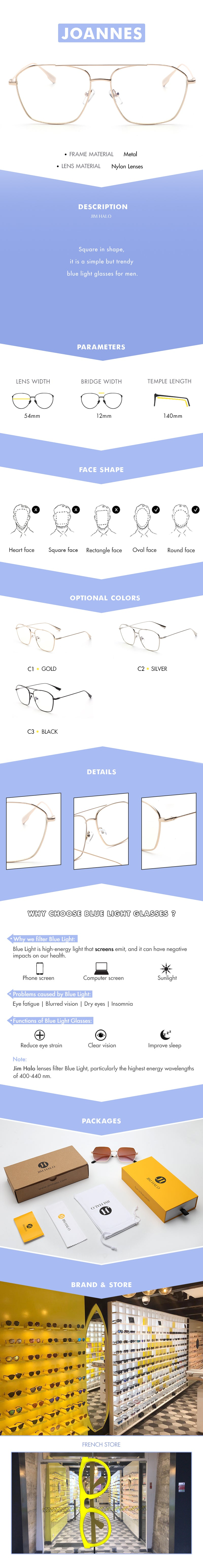 Square in shape, it is a simple but trendy blue light glasses for men.
