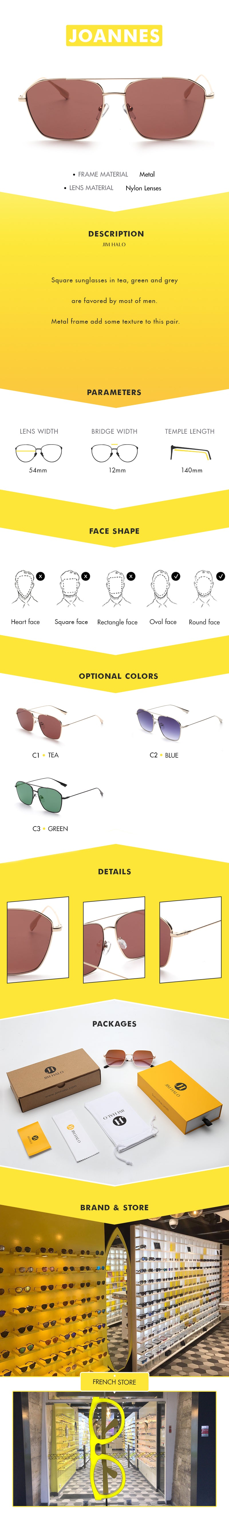 Square sunglasses in tea, green and grey are favored by most of men. Metal frame add some texture to this pair.