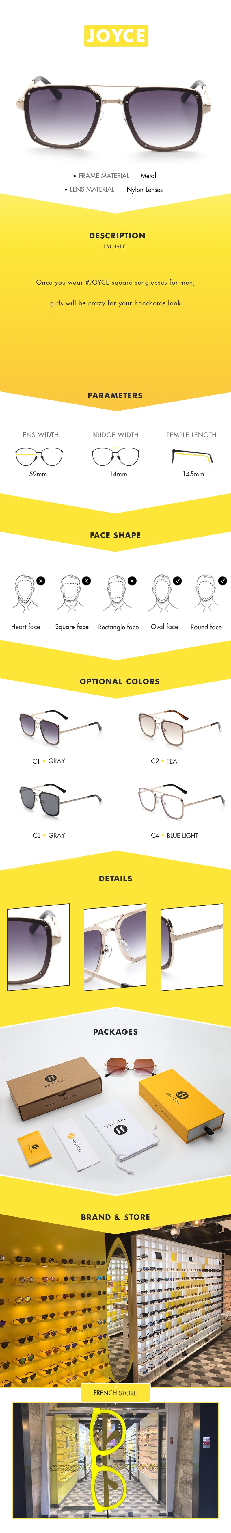 Once you wear #JOYCE square sunglasses for men, girls will be crazy for your handsome look!