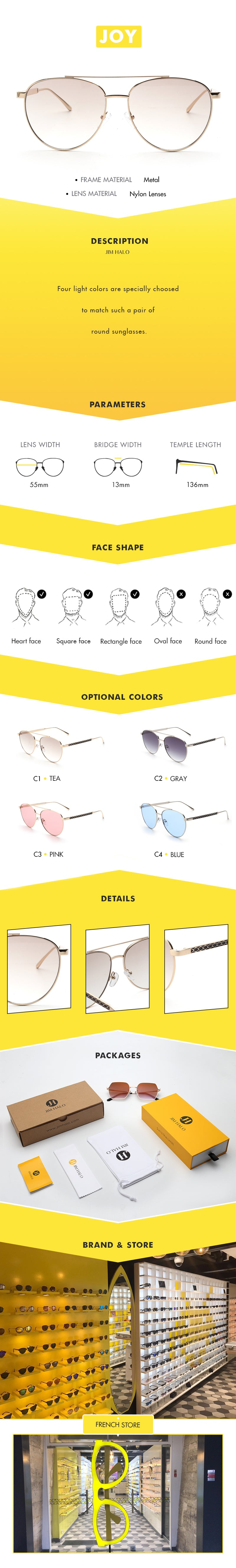 Five light colors are specially choosed to match such a pair of round sunglasses.