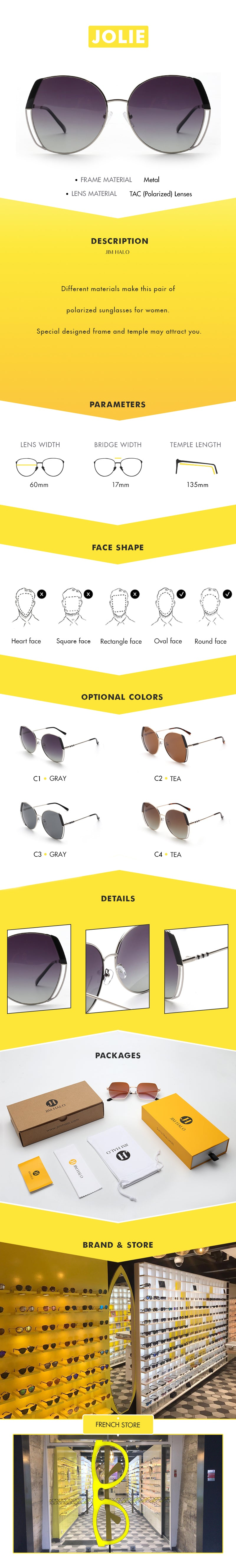 Different materials make this pair of polarized sunglasses for women. Special designed frame and temple may attract you.