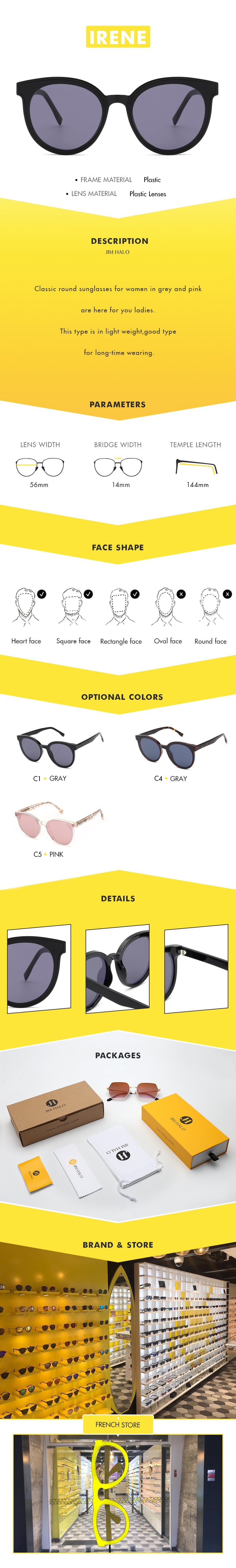 Classic round sunglasses for women in grey and pink are here for you ladies. This type is in light weight,good type for long-time wearing.