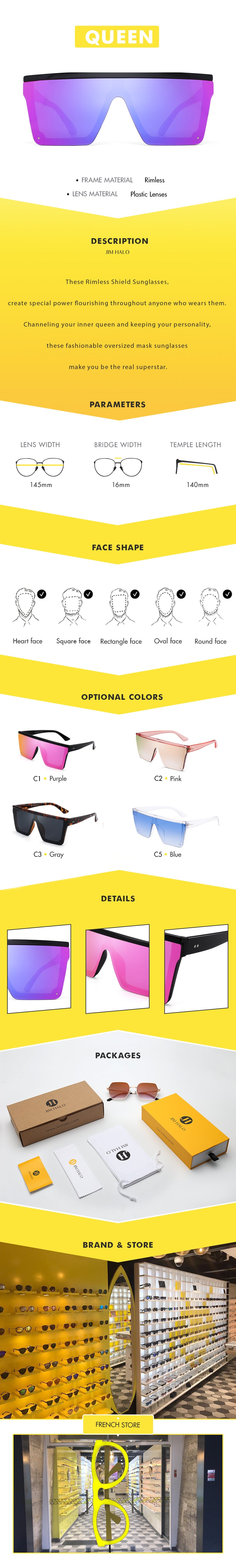 These Rimless Shield Sunglasses, create special power flourishing throughout anyone who wears them. Channeling your inner queen and keeping your personality, these fashionable oversized mask sunglasses make you be the real superstar.
