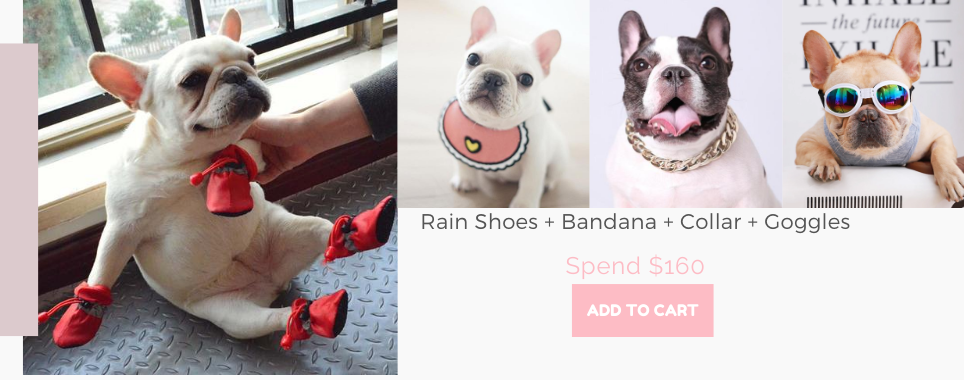 Frenchiely french bulldog rain shoes + dog collars + dog goggles+ dog bandana for free with any $160.00 purchase