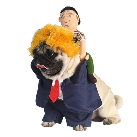 Dog Funny Halloween Suit Costume With Wig Donald Trump Costume