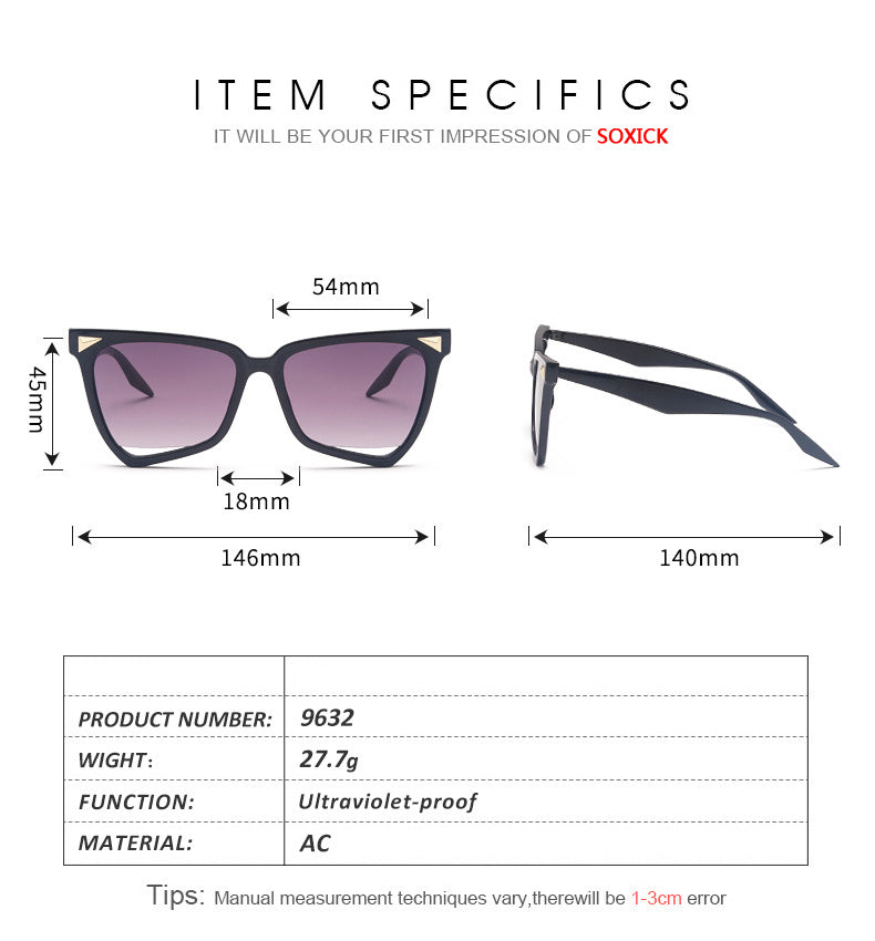 Colour Integrated Large Frame Sunglasses Size Chart