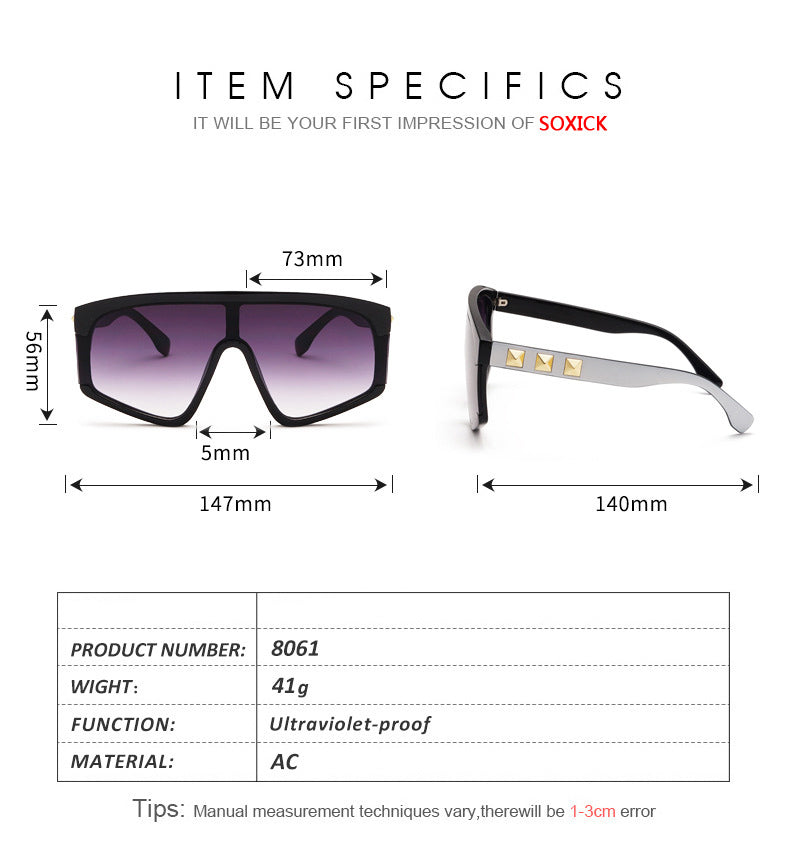Fashion Integrated Large Frame Sunglasses Size Chart