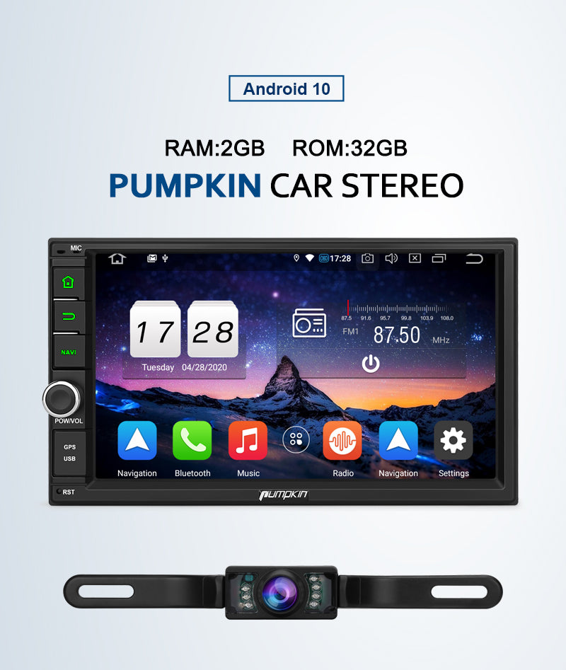 Pumpkin Android 10 Double Din Head Unit Bluetooth Car Stereo for Universal Type with Reverse Camera
