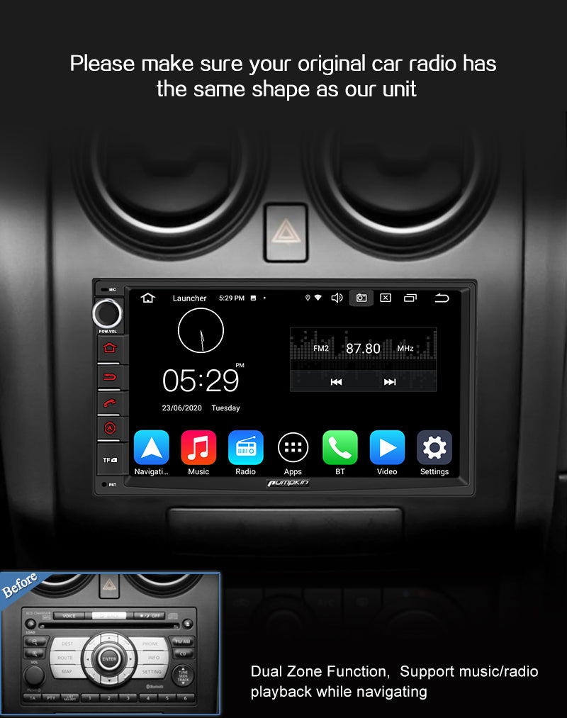 Pumpkin touch screen 2 din android 10 radio