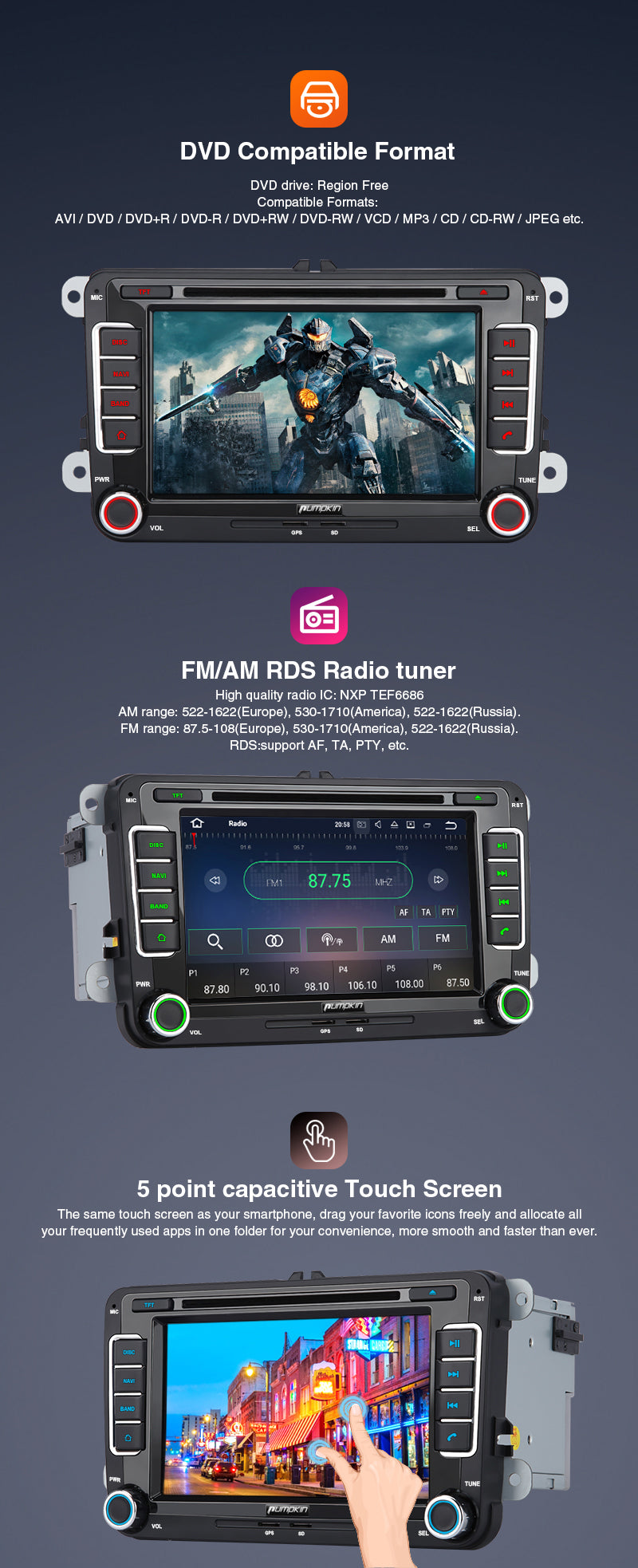 car stereo for volkswagen passat 2002