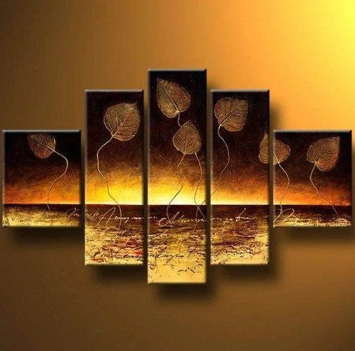 Golden Leaves Painting, Hand Painted Canvas Art, 64 Inch Abstract Painting, Large Canvas Painting for Bedroom, Buy Paintings Online