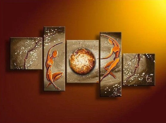 Bedroom Canvas Wall Art, Abstract Art of Love, 5 Piece Canvas Painting, Living Room Abstract Acrylic Paintings, Hand Painted Abstract Painting