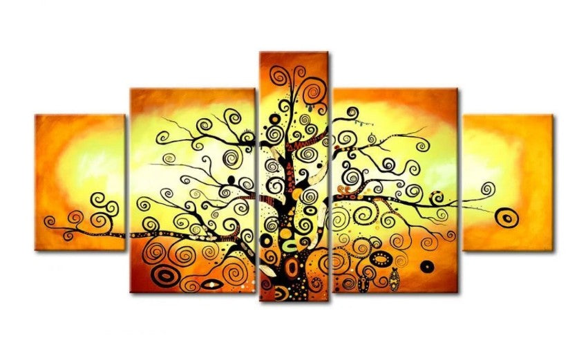 Tree of Life Painting, 5 Piece Canvas Painting, Modern Acrylic Abstract Painting, Extra Large Painting for Living Room