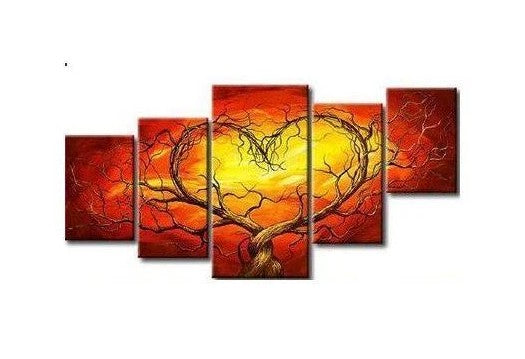 Tree of Life Painting, Abstract Painting of Love, 5 Piece Canvas Art, Extra Large Art Painting, Acrylic Paintings for Living Room, Buy Paintings Online