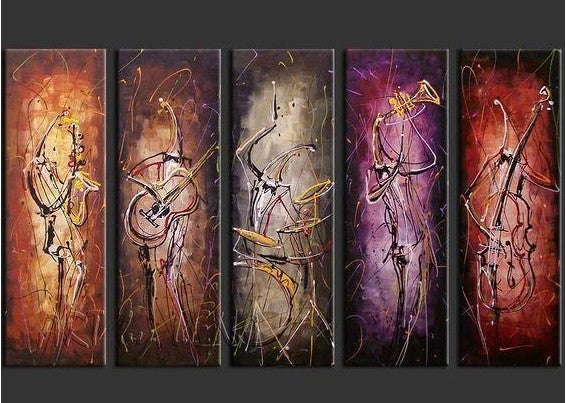 Music Painting, Extra Large Canvas Art, 5 Piece Canvas Art, Canvas Painting Abstract, Acrylic Paintings for Sale