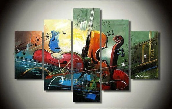 5 Piece Abstract Art, Cello Painting, 50 Inch Abstract Painting, Violin Painting, Bedroom Abstract Painting