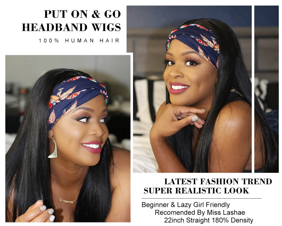 Affordable Headband Wig Brazilian Silky Straight Human Hair Wigs With Adjustable Headband (COUPON CODENEW10, $10 OFF)
