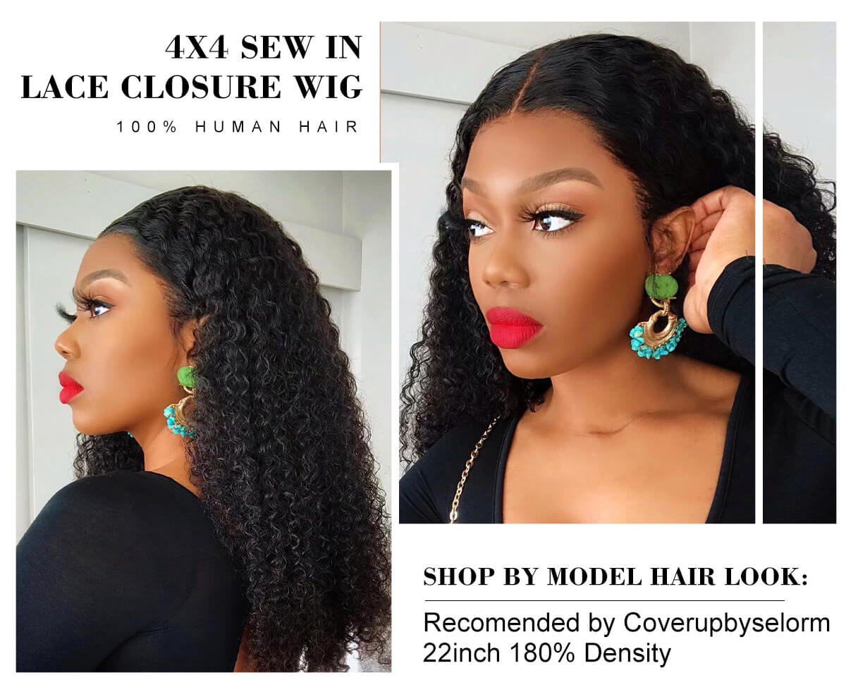 Afro Kinky Curly 4x4 Lace Closure Human Hair Wigs For Black Women Remy Brazilian Curly Hair Closure Wig
