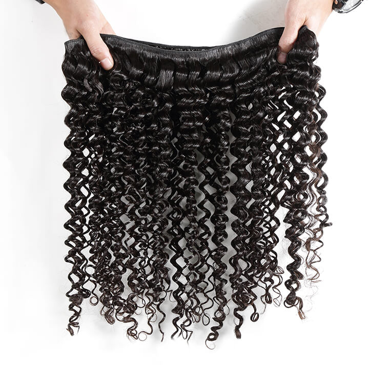 Deep Wave Bundles With Closure Brazilian Curly 100% Human Hair Bundles With Lace Closure