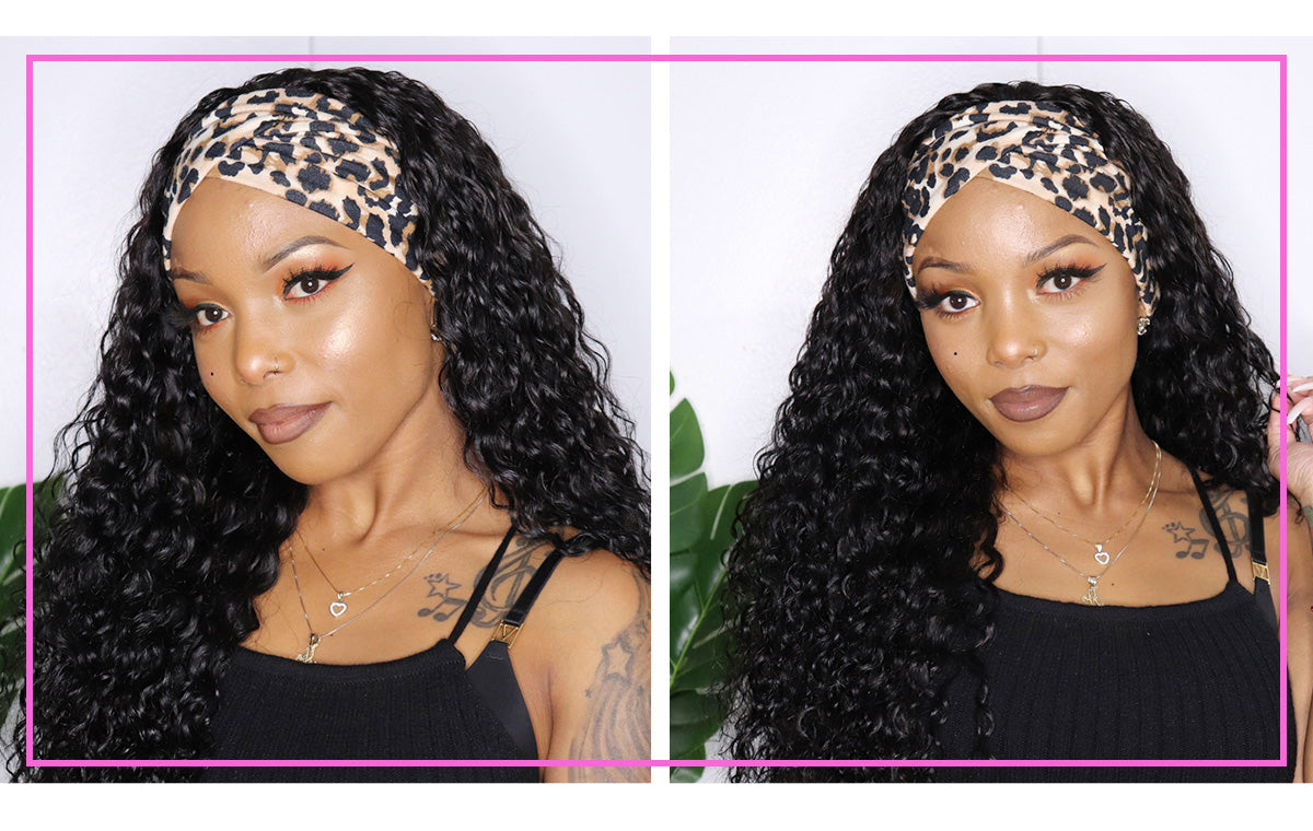 Headband Wig Water Wave Human Hair Wigs Non Lace Front Wig For Women Gluless Brazilian Virgin Hair Wigs (COUPON CODENEW10, $10 OFF)