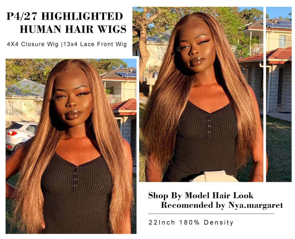 Highlight Brazilian Lace Front Wigs P427 Ombre Human Hair Wigs Honey Blonde Straight Hair Frontal Closure Wigs