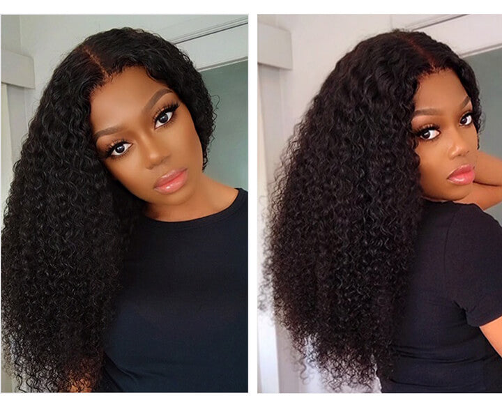 Kinky Curly Lace Closure Human Hair Wigs For Black Women Remy Brazilian Afro Curly Hair Wigs