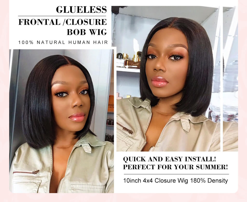 Short Bob Lace Front Wigs Brazilian Straight Glueless Human Hair Closure Wigs for Black Women
