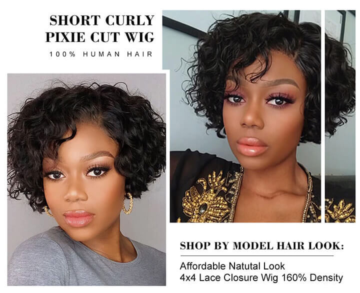 Short Curly Pixie Cut Bob Wigs Brazilian Curly Human Hair Lace Closure Wigs For African American Black Women