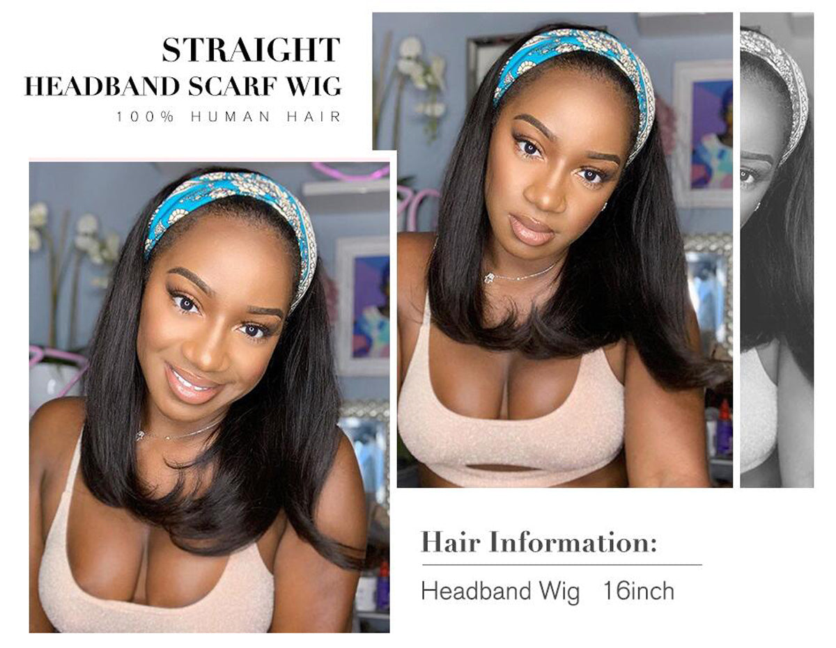 Straight Headband Wig Glueless Human Hair Bob Wigs for black women