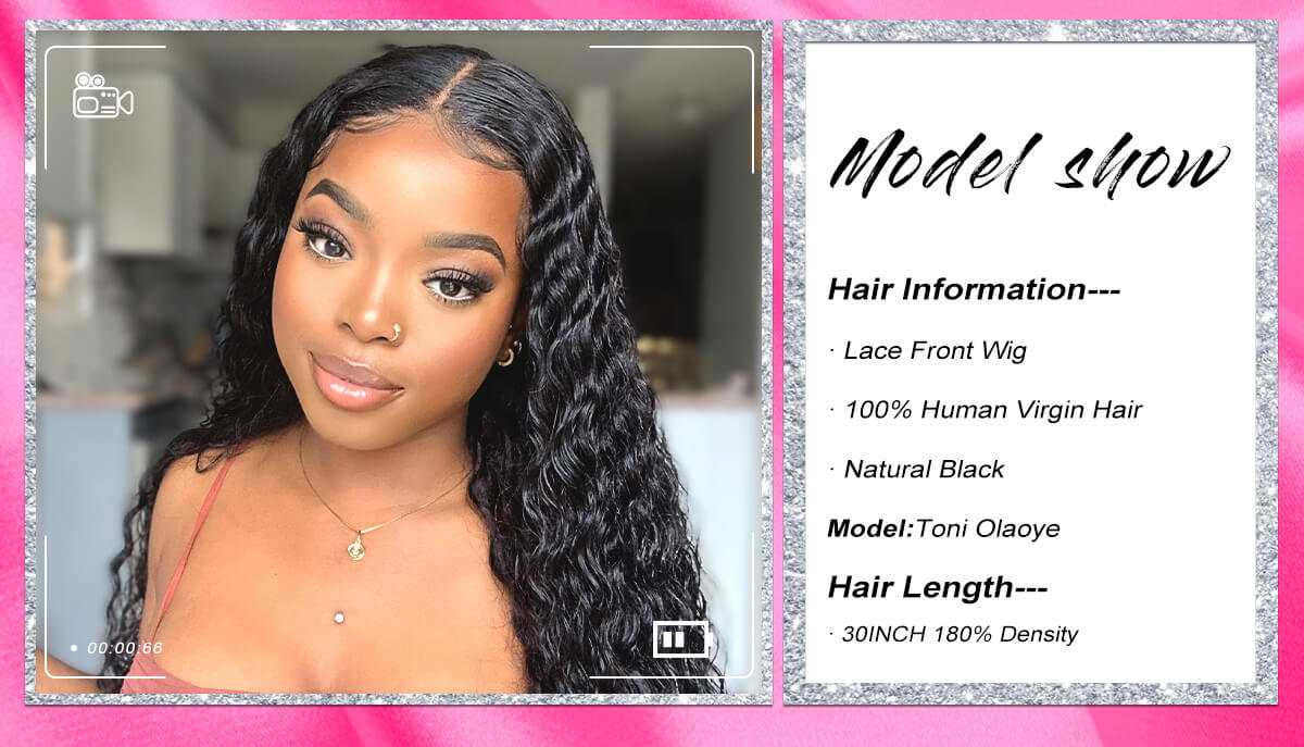 Toni Olaoye 13x4 HD Undetectable Transparent Brazilian Water Wave Lace Front Human Hair Wigs