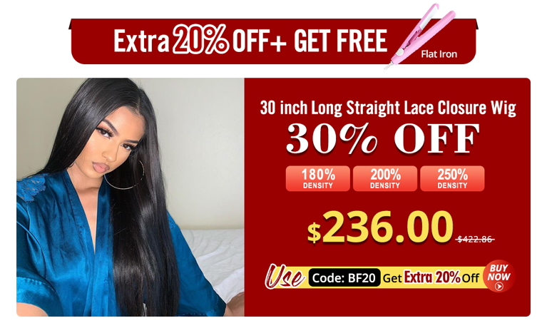 30 Inch Long Straight Lace Closure Wig