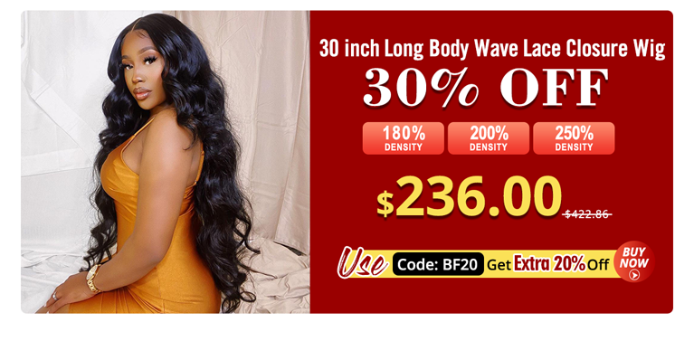 30 Inch Long Body Wave Lace Closure Wig