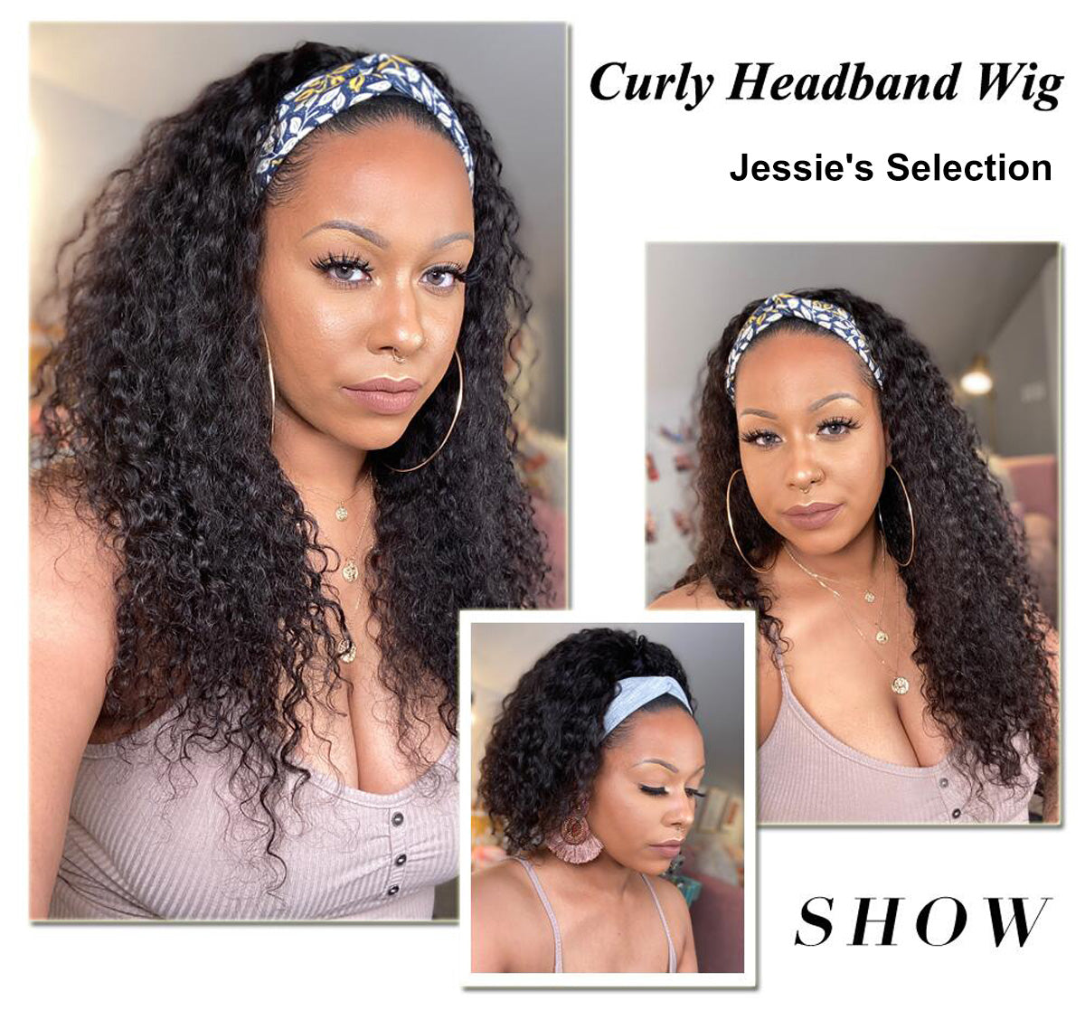 curly headband human hair wigs