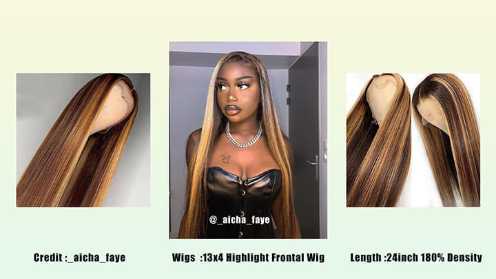 highlight lace frontal human hair wigs