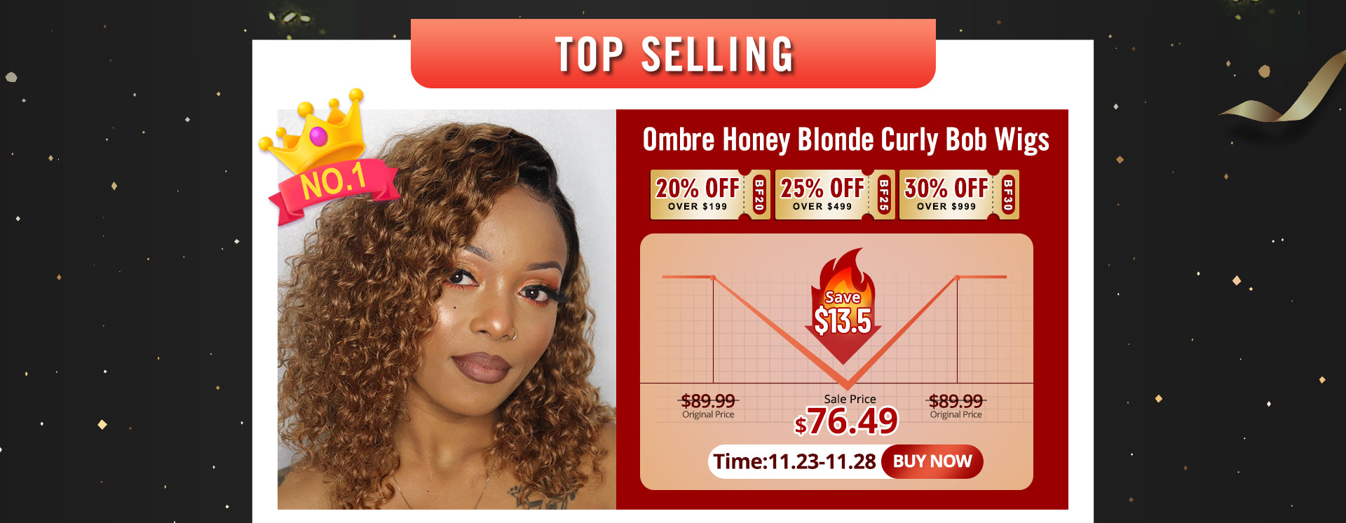 Ombre Honey Blonde Curly Bob Wigs