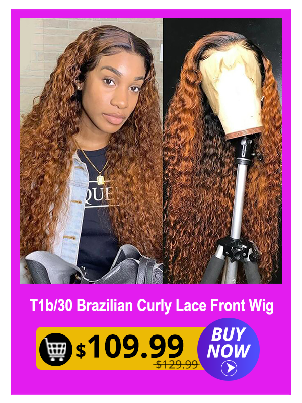 13X4 Curly Two Tones Fake Scalp Lace Human Hair Wigs Pre plucked Glueless Brazilian Curly Frontal Lace Wigs