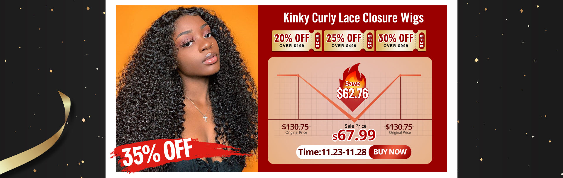 Kinky Curly Lace Closure Wigs