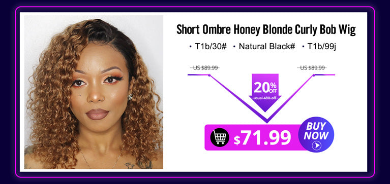 Short Ombre Honey Blonde Curly Human Hair Bob Lace Front Wigs Brazilian Water Wave Wigs #1b/30